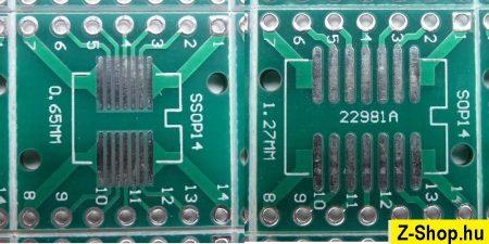 SSOP14 - SOP14 - DIP14 adapter kétoldalas furatgalvanizált nyák