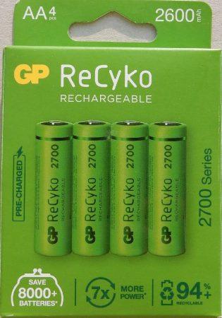 GP ReCyko 2600 mAh NiMH Akkumulátor AA 4db/cs 2700 Series