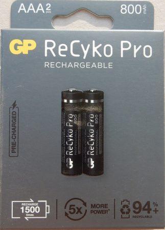 GP ReCyko Pro 800 mAh NiMH Akkumulátor AAA 2db/cs 1500-szor újratölthető