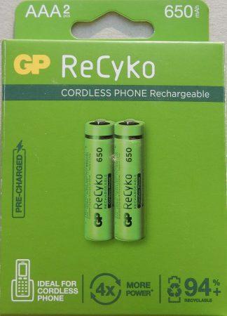 GP ReCyko 650 mAh NiMH Akkumulátor AAA 2db/cs vezeték nélküli telefonhoz - Cordless Phone Rechargeable