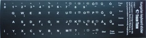 Billentyűzet matrica fehér betű fekete alap Tigertech (magyar)