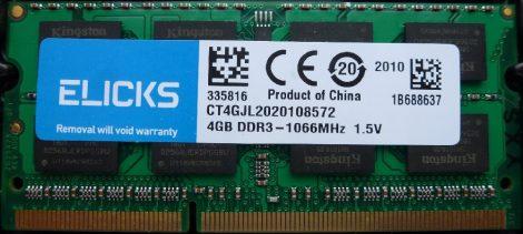 Elicks 4GB DDR3 sodimm 1600MHz (PC3-12800) laptop memória modul CT4GJL2020108572 1.5V
