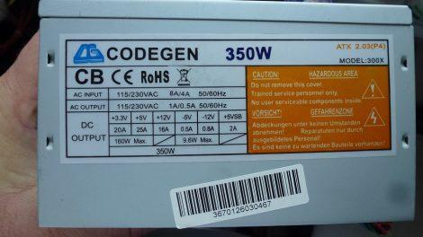 CODEGEN 350W ATX PC tápegység 8 cm-es hűtőventilátorral