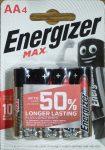 Energizer Max alkáli ceruza elem 1,5V AA 4 db - LR6