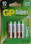 GP Super vékony alkáli ceruza elem 1,5V AAA 4 db LR03 GP24A-2U4