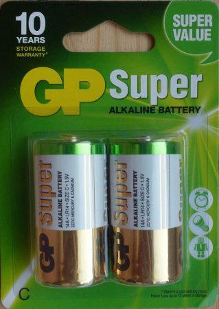 GP Super alkáli Baby elem 1,5V C 2 db ALKALINE 14A LR14