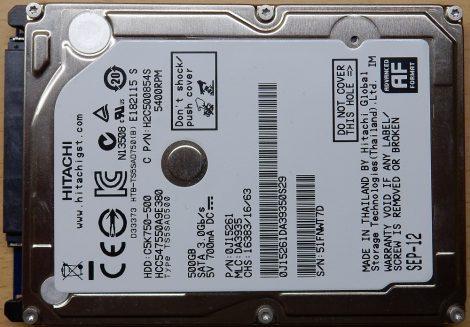 Hitachi HCC547550A9E380 500GB 2,5 Sata notebook HDD merevlemez 100%100% CinemaStar C5K750