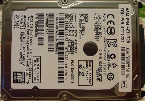 "HITACHI HTS727550A9E364 500GB 2,5"" Sata notebook HDD merevlemez 100%/100% Travelstar 7K750"