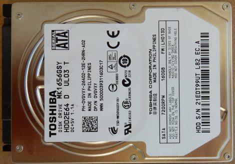 """TOSHIBA MK1656GSY 160GB 2,5"""" Sata notebook HDD merevlemez 100%/100%"""