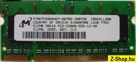 Micron technology 512MB DDR2 sodimm notebook RAM modul MT8HTF6464HDY-667B3 PC2-5300S-555-12-A0