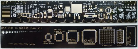 nyák referencia vonalzó - Reference Ruler PCB for Ardunio Electronic Engineers 15 cm