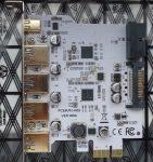 USB 3.1 Type C PCI-e bővítő kártya 1 db. Type C 3 db. Type A 1db. belső csatlakozóval - Expansion Card PCI-e to 1 Type C + 4 Type A 3.0 USB Adapter PCI Express Riser Card with USB 19pin Connector