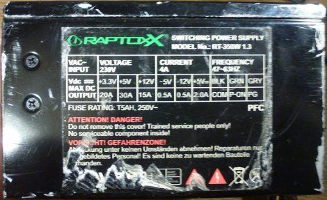 Raptoxx 350W ATX tápegység 12 cm-es hűtőventilátorral