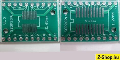 SSOP20 - SOP20 - DIP20 adapter kétoldalas furatgalvanizált nyák