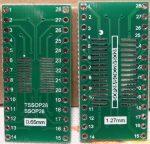 SSOP28 - SOP28 - DIP28 adapter kétoldalas furatgalvanizált nyák
