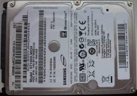 Seagate Samsung ST1000LM024 HN-M101MBB 1TGB 2,5 Sata notebook HDD merevlemez 100%/100% Momentus 5400