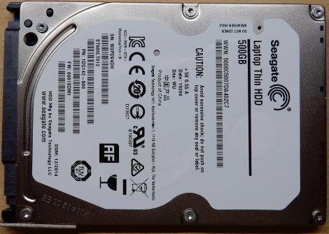 Seagate ST500LT012 500GB 2,5'' Sata notebook HDD merevlemez - hibás - nem pörög fel