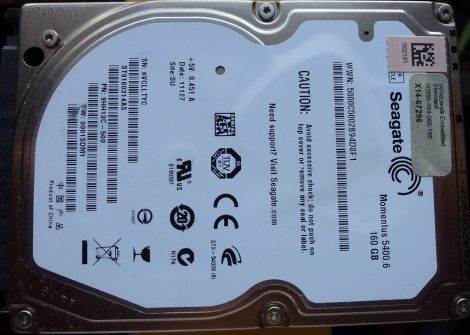 "hibás Seagate ST9160314AS 160GB 2,5"" Sata notebook HDD merevlemez 100%/98% Momentus 5400.6 160314"