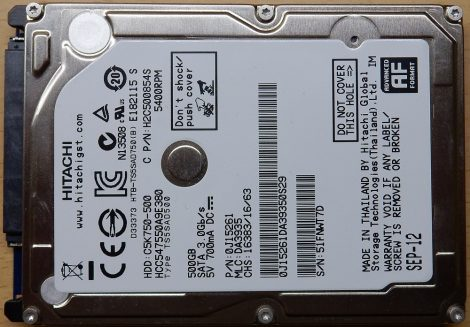 """Seagate ST9750420AS 750GB 2,5"""" Sata notebook HDD merevlemez 100%/100% Momentus 7200.5 750420"""