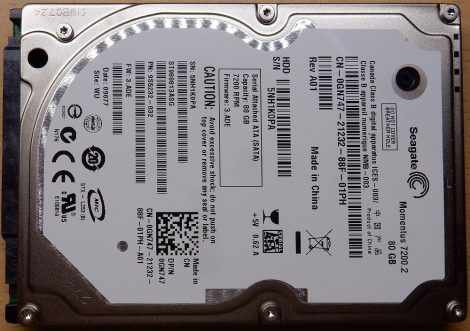 """Seagate ST980813ASG 80GB 2,5"""" Sata notebook HDD merevlemez 100%/88% 12 bad sector"""