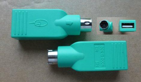 USB Type A mamáról PS-2 Mini DIN6 papára átalakító egér adapter 501215-B004