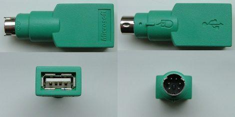 USB Type A mamáról PS/2 Mini DIN6 papára átalakító egér adapter Microsoft