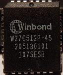 Winbond W27C512P-45 64kx8 EEPROM PLCC32 elektromosan törölhető EPROM