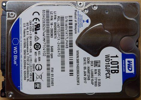 "WDC WD10JPCX-24UE4T0 1.0TB 2,5"" Sata notebook HDD merevlemez 100%/100% WD Blue"