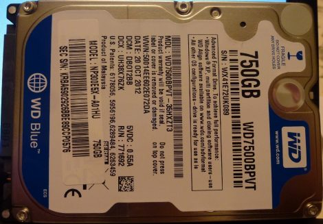 WDC WD7500BPVT-35HXZT3 750GB Sata notebook HDD merevlemez 100%/100% WD Blue Scorpio Blue